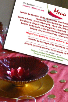 table thème rouge sensuel