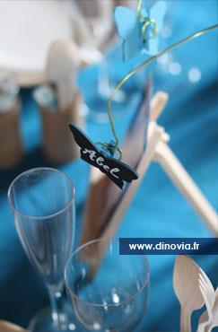 Design bleu pour belle table de mariage