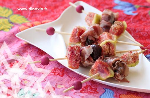 Brochettes figues et pruneaux