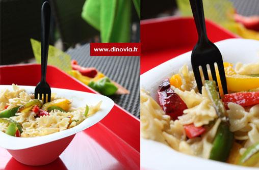saladier jetable - salade de pates et poivrons